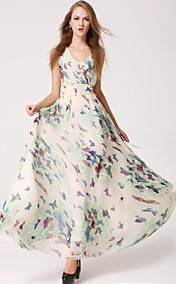 Women's Butterfly Floral Print With Waistband Zippers Closure Full Dress
