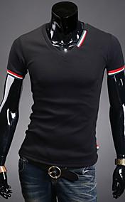 Men's V Neck Short Sleeve Slim Fit Casual T Shirt