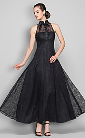 A-line High Neck Ankle-length Lace Evening Dress (699490)
