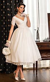 A-line Princess V-neck Tea-length Taffeta Wedding Dress (783941)