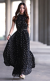 Plus Size Dot Chiffon Irregular Sleeveless Vest Loose Women Dress
