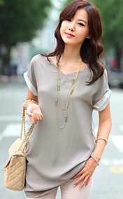 Women's V Neck Splicing Loose Blouse