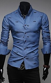 Men's Slim casual Print  Long Sleeved Shirt