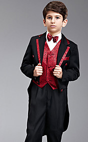 Seven Pieces Black And Red Swallow-tail Ring Bearer Suit With Two Bow Ties