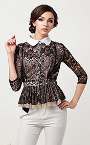 Women'S Spring Vintage Tailor Collar Lace Blouse