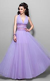 A-line Halter Floor-length Chiffon And Tulle Evening Dress (759904)