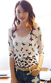 Women's Butterfly Print Slim Knitwear Blouse