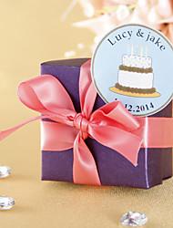 Gepersonaliseerde gunstlabel - Wit Birthday Cake (set van 36)