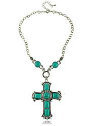 Religión Verde Turquesa Collar de la Cruz