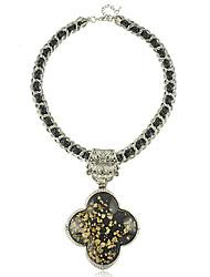 European Style Vintage Resin Black Clover Necklace