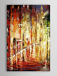 Hand Painted Oil Painting Landscape Rainy Street with Stretched Frame