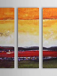 Hand Painted Oil Painting Landscape Red River with Stretched Frame Set of 3