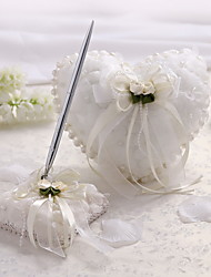 Satin And Tulle Wedding Pen Set With Imitation Pearls And Flowers