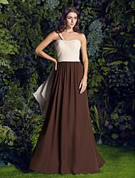 2017 Lanting bride® Sweep / szczotka pociąg szyfonowa sukienka druhna --line jedno ramię plus size