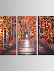 סט iarts ציור שמן הנוף מודרני עצים אדומים אמנות קיר של 3 יד מצוירת בד עם מסגרת מתוחה