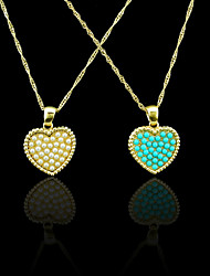 18K Real Gold Plated Pearl/Blue Heart Pendant 2*2.6CM