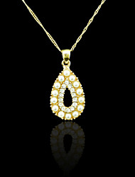 18K Real Gold Plated Pearl Drops Pendant 1.9*3.8CM