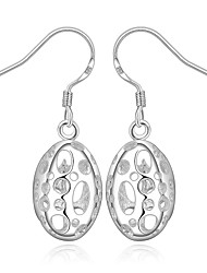 Women's S925 Silver Plated Hollow Out Elliptic Droplets Drop Earrings(Color Preserving More Than A Year)