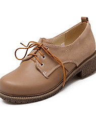 Feminino-Oxfords-Sapatos clube-Salto Baixo-Preto Amêndoa-Couro Ecológico-Escritório & Trabalho Social Casual