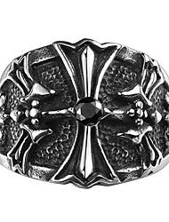 טבעת תכשיטים פלדה Cross Shape תכשיטים עיצוב מיוחד אופנתי שחור תכשיטים חתונה Party Halloween יומי 1pc