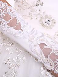 K lokti Bez prstů Rukavice spandex Fabric Luxus Pro nevěstu Podzim Jaro Výšivka Perly Flitry