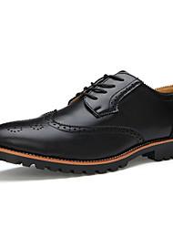Da uomo-Oxford-Ufficio e lavoro Casual Serata e festa-scarpe Bullock-Piatto-Di pelle-Nero Marrone chiaro
