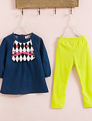 Girls' Casual/Daily Print Sets,Cotton Spring Fall Long Sleeve Clothing Set