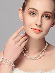 Mulheres Gargantilhas Pérola Liga Euramerican Branco Jóias Para Casamento Festa Ocasião Especial Aniversário Noivado Casual 3pçs