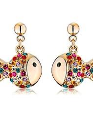 Luxury Drop Earrings for Women Vintage Crystal Fish Drop Earrings Fashion Jewelry Accessories Silver Plated