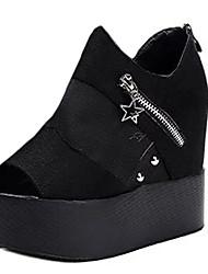 נשים-סנדלים-PU-נעלים עם פתח קדמי-שחור / לבן-קז'ואל-עקב וודג'
