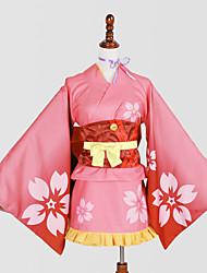 Ihlette Szerepjáték Szerepjáték Anime Szerepjáték jelmezek Cosplay ruhák Kimono Nyomtatott RózsaszínYukata Sisak Selyem nyaksál Fűző