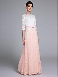 2017 לנטינג bride® חצוצרה / אמא mermaid של תחרת שרוול חצי אורך רצפת שמלת כלה עם אבנט / סרט