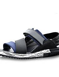 סנדלים-גברים של נעליים-קז'ואל-עור-שחור / כחול