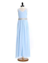2017 Lanting Bride® Floor-length Chiffon Junior Bridesmaid Dress Sheath / Column Spaghetti Straps with Crystal Detailing
