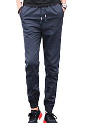 Men's Solid Casual / Sport SweatpantsCotton Black / Blue / Brown