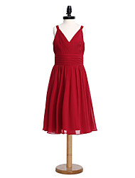 2017 lanting bride® knielange chiffon junior bruidsmeisje jurk a-lijn v-hals met side draperen