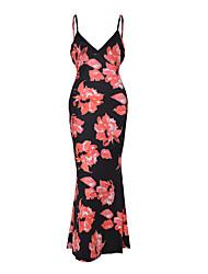 Feminino Bainha Vestido,Casual Sensual / Vintage Floral Com Alças Longo Sem Manga Azul / Rosa / Vermelho / Verde Poliéster VerãoCintura