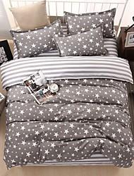 bedtoppings šidítko peřina quilt cover 4ks set queen size Plošný útvar povlak na polštář šedé hvězdy vytiskne mikrovlákna