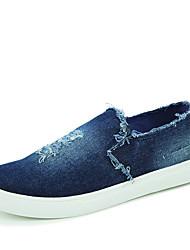 Unissex-Mocassins e Slip-Ons-Conforto-Rasteiro-Preto / Azul-Lona-Casual