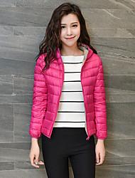 Dámské Standardní Dlouhý kabát Jednoduché Běžné/Denní Jednobarevné-Kabát Bavlna Polypropylen Dlouhý rukáv Kapuce Růžová / Černá