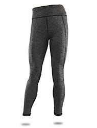 מכנסיים יוגה טייץ רכיבה על אופניים / תחתיות נושם / ייבוש מהיר / דחיסה / נוח טבעי גמישות גבוהה בגדי ספורט אפור לנשים ספורטיבייוגה /