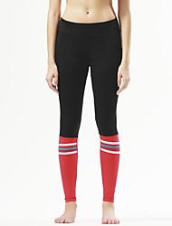 מכנסיים יוגה טייץ רכיבה על אופניים נושם / ייבוש מהיר / דחיסה / נוח טבעי מתיחה בגדי ספורט אדום / שחור לנשים ספורטיבייוגה / פילאטיס /