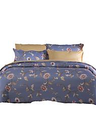 פרחוני סטי שמיכה 4 חלקים פוליאסטר דוגמא הדפסה תגובתית פוליאסטר קווין 4 יחידות (1 כיסוי שמיכה, 2 כיסוי כרית, 1 סדין)