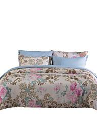 Floral Define capa de edredão 4 Peças Poliéster Estampa Impressão Reactiva Poliéster Queen 4peças (1 edredão, 1 lençol, 2 coberturas)