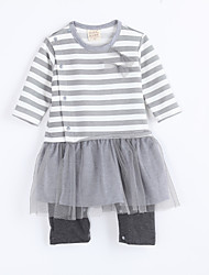 Girl's Casual/Daily Striped Overall & Jumpsuit,Cotton Fall Gray