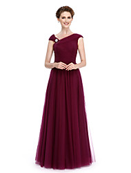 2017 Lanting Bride® A-line Mother of the Bride Dress Floor-length Sleeveless Tulle with Side Draping / Criss Cross