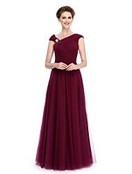 2017 Lanting bride® a-line mãe da noiva vestido longo de tule sem mangas e com drapeados lateral / transversal de Criss