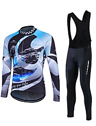 Fastcute® חולצת ג'רסי וטייץ ביב לרכיבה לגברים שרוול ארוך אופניים שמור על חום הגוף / עמיד מדים בסטים גיזות קלאסי חורףרכיבה על