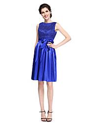 2017 לנטינג bride® א-קו אמא של תחרה ללא שרוולים באורך הברך שמלת כלה / סאטן מתיחה עם קשת (ים) / תחרה