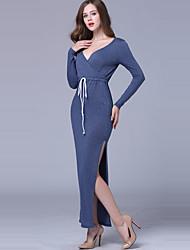 אביב / סתיו פוליאסטר כחול שרוול ארוך מקסי צווארון V אחיד סקסי / פשוטה יום יומי\קז'ואל / חג שמלה נדן נשים,גיזרה בינונית (אמצע) מיקרו-אלסטי